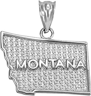 Montana MT State Map Charm Pendant in 925 Sterling Silver