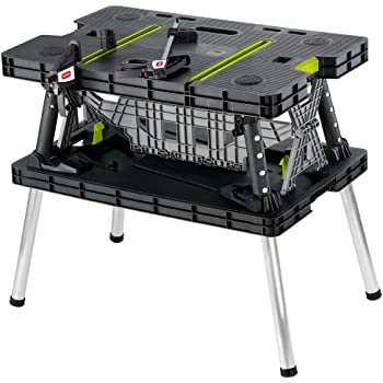 Keter Folding Table Work Bench for Miter Saw Stand, Woodworking Tools and Accessories with Included 12 Inch Wood Clamps – Easy Garage Storage