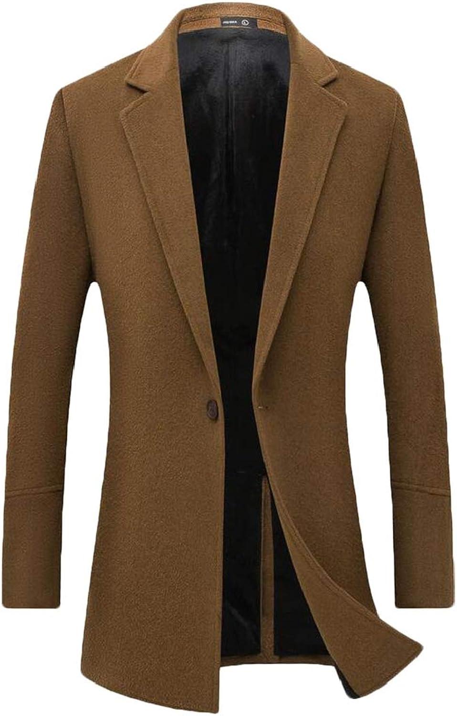 Jofemuho Men's Winter Outdoor One Button Wool Blend Business Long Trench Coat