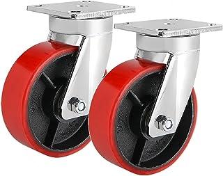 Zware zwenkwielen Set van 2, 5 inch zwenkwielen - Geruisloze industriële wielen met polyurethaan rubberen coating - 1000 l...