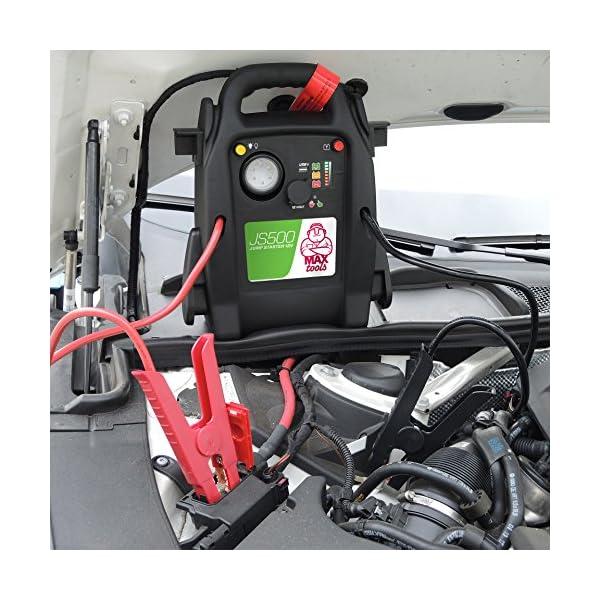 MAXTOOLS JS500 Arrancador de coches, Arrancador de Baterias de Coche, 12V, 2200A, jump starter, con Linterna LED y USB