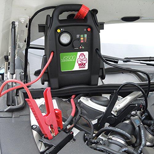 MAXTOOLS JS500, Avviatore Batteria Emergenza per Auto e Furgoni, 2200A 22Ah, per Motori 12V Diesel e Benzina, Jump Starter, Booster, con Torcia LED e porta USB
