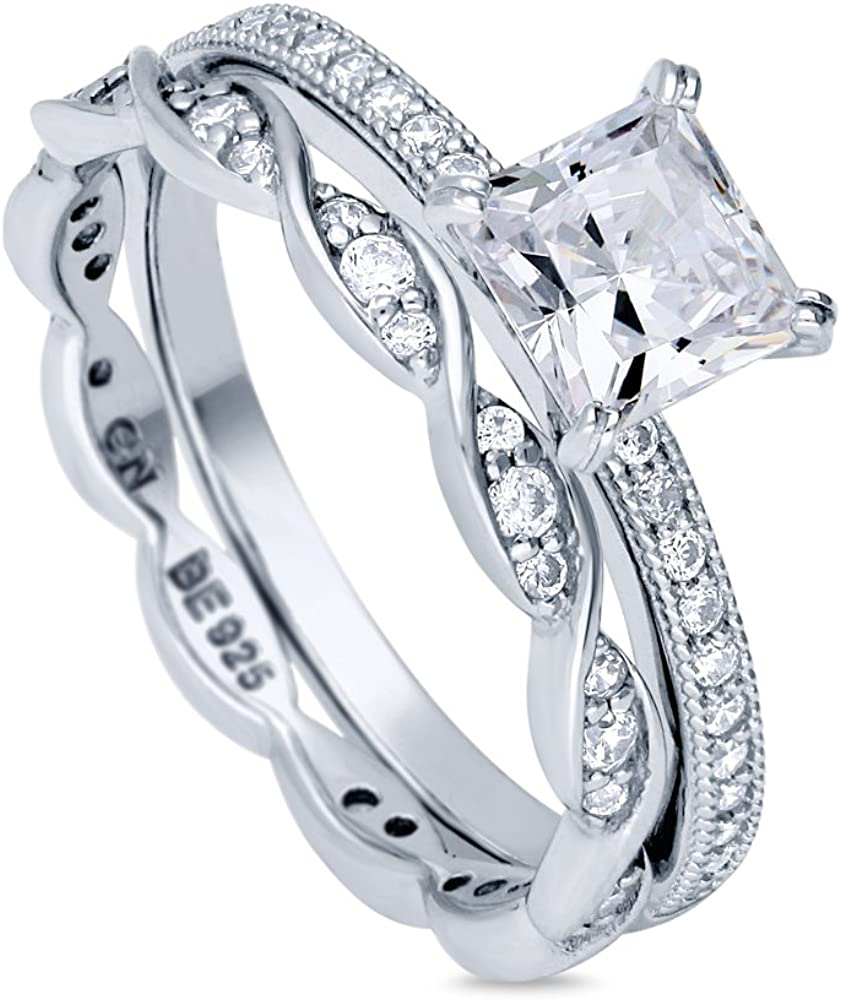 BERRICLE Rhodium Plated Milwaukee Mall Sterling Silver Cubic Zirco Princess Super Special SALE held Cut