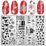 Whaline 4 Stück Christmas Nail Art Platten Santa lieber Schnee Stempel Bild Vorlage Stamping Kit DIY Druck Maniküre Salon Design