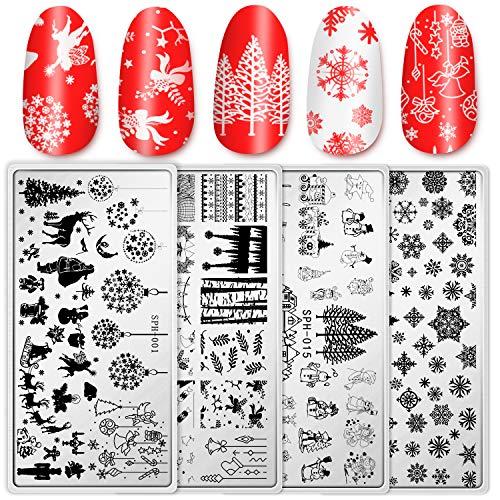Whaline - Set di 4 piastre natalizie per nail art, motivo: Babbo Natale e neve, kit per stamping fai da te, design per manicure e saloni