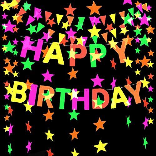 GLOBALDREAM Neon Papiergirlande, 4,4 m Girlande Neon Stern Girlande Dreieck Flags hängende Girlande für Geburtstag Hochzeit Baby Shower Party Supplies