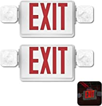 (2 Pack) Auzzlife Double Sided LED Emergency Light Exit Sign Combo with 180°Adjustable Flood Lights Backup Battery Commercial Grade High Output Fire Resistant