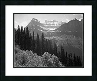 Framed Wall Art Print Trees, Bushes and Mountains, Glacier National Park, Montana - National Parks and Monuments, 1941 by Ansel Adams 25.25 x 21.25