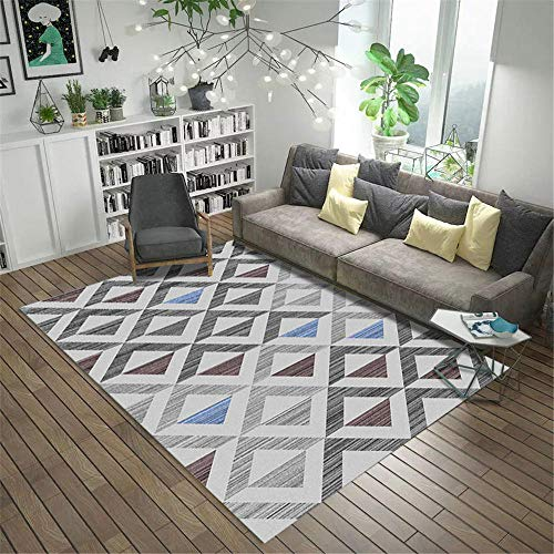 RUGMYW Lavable En La Lavadora alfombras Infantiles Baratas Patrón de rombo geométrico Gris marrón Violeta Alfombra Outlet 180X250cm