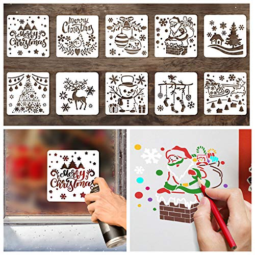 10 Styles Christmas Stencils for Painting, Drawing Stencils for Christmas Craft Supplies Card Making Kit for Kids Adults, Christmas Holiday Stencils for Spraying Window Wood Scrapbook Glass Décor