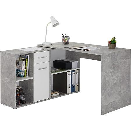 IDIMEX Bureau d'angle Carmen Table avec Meuble de Rangement intégré et modulable avec 4 étagères 1 Porte et 1 tiroir, décor béton et Blanc Mat