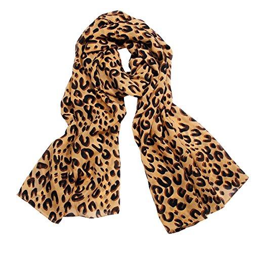 JewelryWe Chiffon Leopard Muster Mocha Schal Halstuch Tuch SOMMERSCHAL Loopschal Damen Geschenk