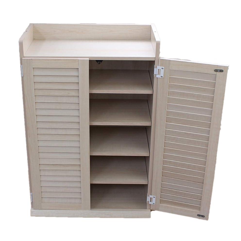 エピソードボーカル普遍的な下駄箱 シューズボックス くつ箱 ルーバー ルーバーシューズボックス 60cm幅 奥行き30cm メープル NCH3140-MP