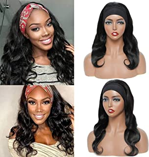 Sponsored Ad - Headband Wig for Black Women Body Wave Human Hair Wigs Brazilian Human Hair None Lace Front Wig Machine Mad...