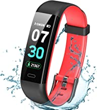 K-berho Fitness Tracker Activity Tracker with Heart Rate Monitor,Step Counter Watch, Sleep Monitor Tracker,Pedometer Watch,Calorie Counter Watch Waterproof,Smart Watch for iOS and Android (Black&red)