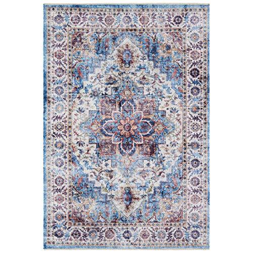 Nouristan Orientalischer Design Teppich Tabriz Dewana mit Fransen Farah (120 x 170 cm, 80% Baumwolle, 20% PE Chenille, Pflegeleicht, Fußbodenheizung geeignet), Brilliantblau