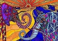 フルレンジの刺繡スターターキット11CTスタンプクロスステッチキットアダルトプリント刺繡布ニードルポイントカラーエレファントDIYバースデーギフトアダルトハンドメイド-16x20インチ