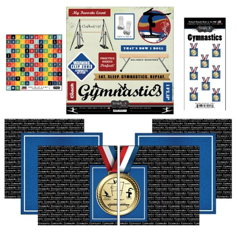 Scrapbook Customs Go Big Gymnastics Themed Paper and Stickers Scrapbook Kit