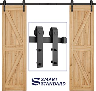 8ft Heavy Duty Double Door Sliding Barn Door Hardware Kit -Smoothly and Quietly -Simple and Easy to Install -Includes Step-by-Step Installation Instruction - Fit 24