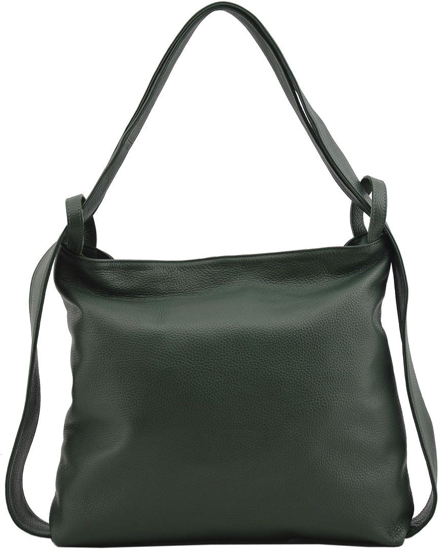 Genuine Leather Shopper Bag And Backpack color Dark Green