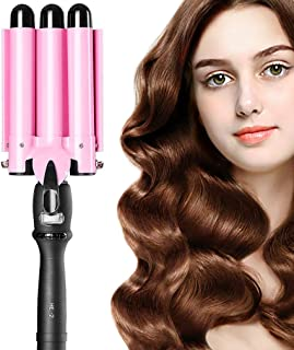 Hair Waver Hair Curling Iron Curling Wands Hair Curler 14x4'' Ceramic Hair Crimper Long Hair 3 Barrel Waver Instant Heat Curler Deep Waver for Curler with Temperature Control (Pink) (Curling)