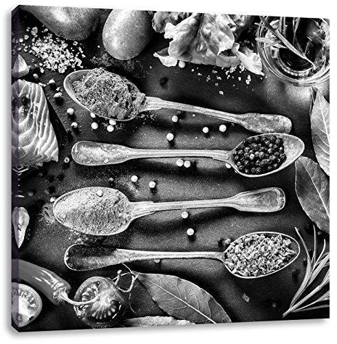Fijne kruiden op lepelsCanvas Foto Plein | Maat: 60x60 cm | Wanddecoraties | Kunstdruk | Volledig gemonteerd