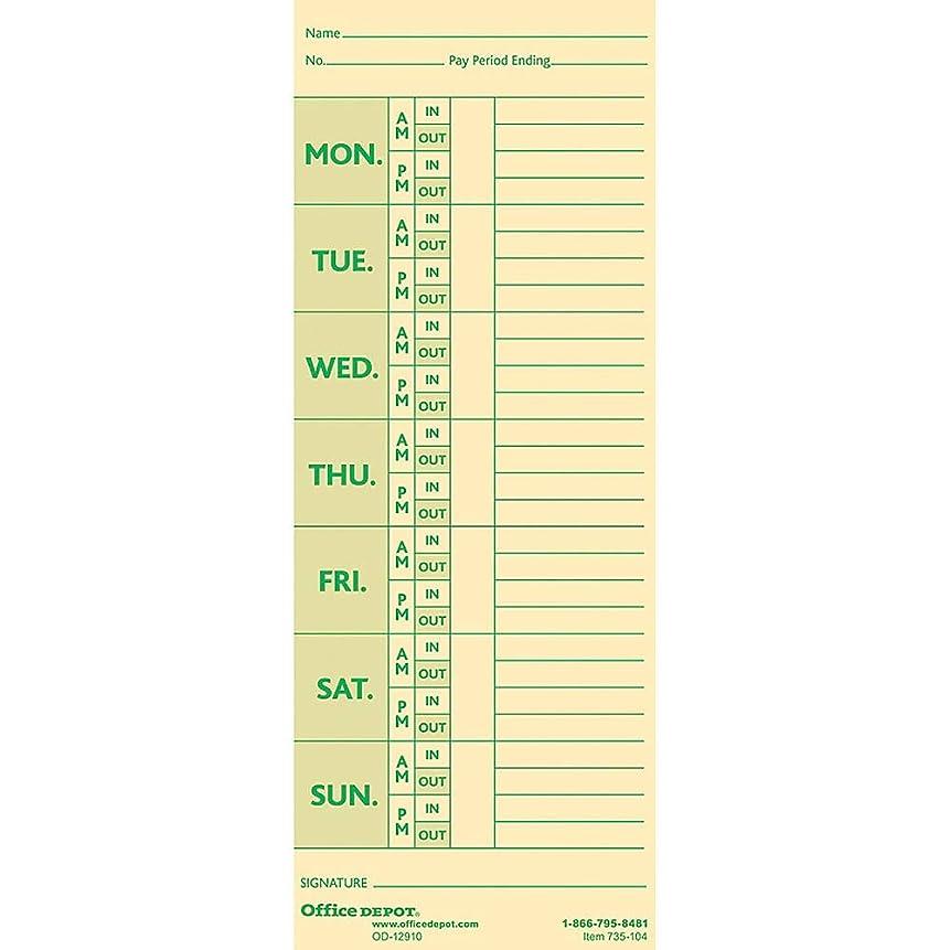 ペルー人物補足Office Depot時間カードwith控除、週単位、monday-sunday形式、両面、3?3?/ 8in X 8?7?/ 8in、マニラ、PK 100の、gb-735104