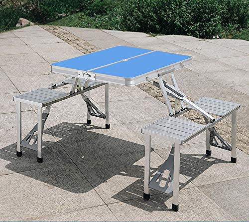 liutian Folding Picnic Table Bench Set Foldable Portable Outdoor Stools Garden Bbq Patio Party Camping Aluminum Integrated Folding Table(Silver/blue/green)