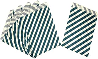 Tvoip 50 Pcs 5 x 7 Inches Navy Blue Striped Paper Bags,Holiday Wedding Christmas Favor Candy Treat Bags
