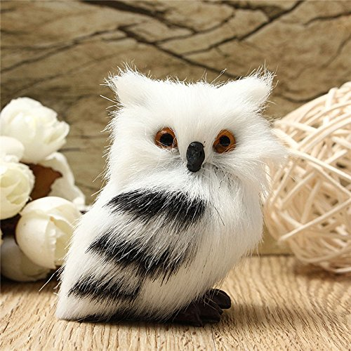 Owl White Black Furry Christmas Ornament Decoration Adornment Simulation H2.75' by DOM