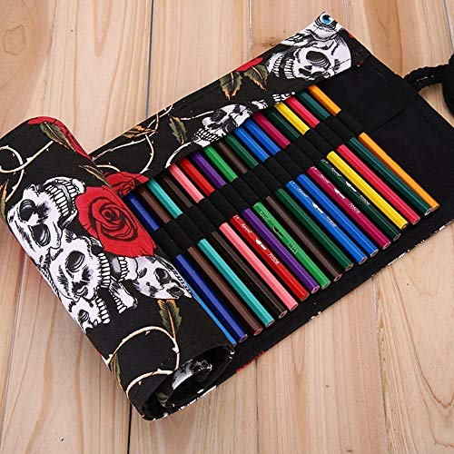 XDOBO Creative Handmade Canvas Pencils Case Pencil Roll Pouch Pencils Wrap Holder, for Pencils, Pens, Eraser, Sharpener, Markers, Crochet Hook or Gadgets (36 Holes, Skull and Rose) (72 Holes)
