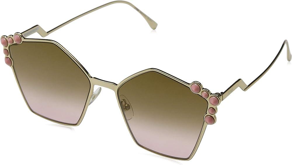 Fendi, occhiali da sole da donna can eye, montatura in rutenio, forma pentagonali con inserti agli angoli 0261/S 6LB 57