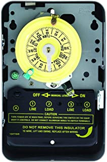 Intermatic T104 Electromechanical Timer, 208-277 V, 40 A, 1-23 Hr, 1-12 Cycles Per Day, Gray