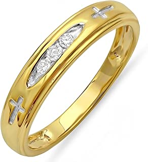 0.15 Carat (ctw) 18K Yellow Gold Plated Sterling Silver 3 Stone Round Diamond Cross Design Mens Band Ring