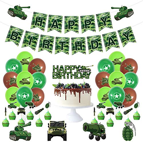 Formemory 36 Pcs Camouflage Themed Party Decorations,Army Military Camouflage Party Balloon,Army Birthday Decorations,Camouflage Party Supplies for Army Theme Birthday, Military Theme Birthday