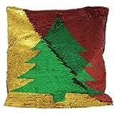 THE TWIDDLERS Funda para Cojín Brillante de Sirena con Lentejuelas – Diseño Plateado y Rojo Reversible – Accesorio de Decoración Navideña – Regalo de Adorno de Navidad Almohada Decorativa para Cama,