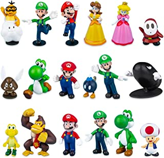 Labeol 18Pcs Super Mario Action Figures Set Mario Cake Toppers Mario Bros Toys Birthday Cake Decorations Party Supplies Ma...