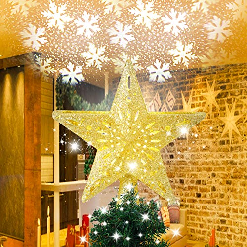 SOLLED Christmas Star Tree Topper ,Golden Star Christmas Tree Topper Lighted with Snowflake Projector Lights, 3D Rotating LED Snowflake Projector Tree Toppers for Christmas Tree Decoration