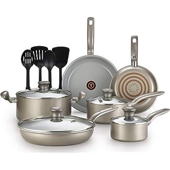 T-fal G919SE64 Initiatives Ceramic Nonstick Dishwasher Safe Toxic Free 14-Piece Cookware Set, Gold -