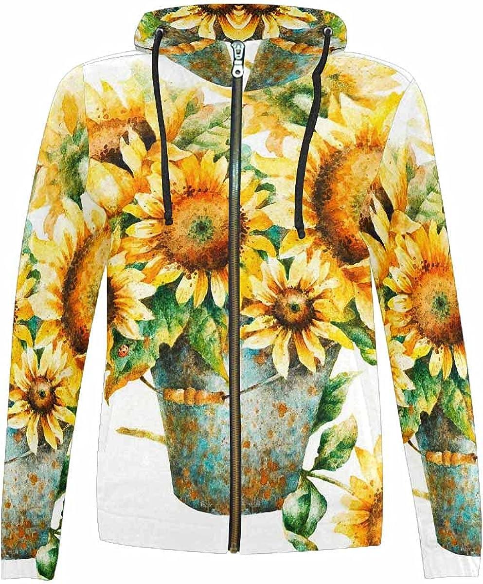InterestPrint Sunflowers Pattern on Vintage Style Youth Hoodie Jackets Boys Girls Full Zip Hooded Sweatshirt