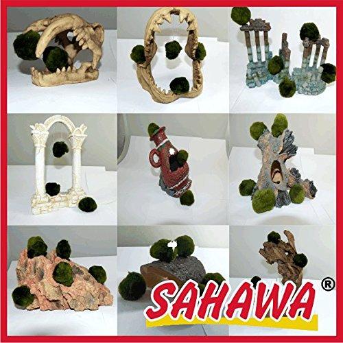 Künstliche Aquariendekoration mit Mooskugeln,Säulenruine, Hai , Amphore, Steine, Savanne (Amphore rot mit Mooskugeln)