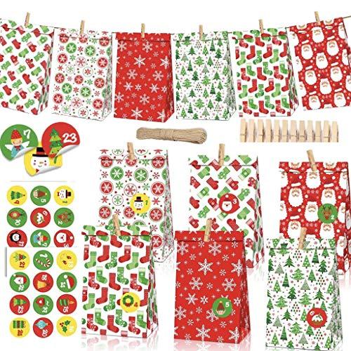 MEIRUIER 24 Pcs DIY Calendario de Adviento Navidad, Bolsas de Regalo Navidad, con 24 Adhesivos Digitales de Adviento, Bolsas de Papel Kraft navideño (24 pcs)