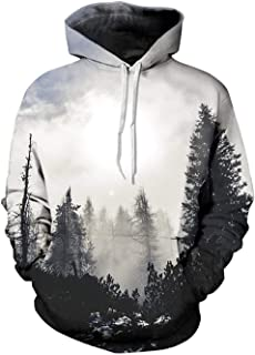 Unisex Slim Fit Sweatshirt Hoodie Hoodies Long Sleeve with Fashion Print Top Jumper Shirt for Ladies and Men 142zxc (Color : White Holz, Size : XXL)