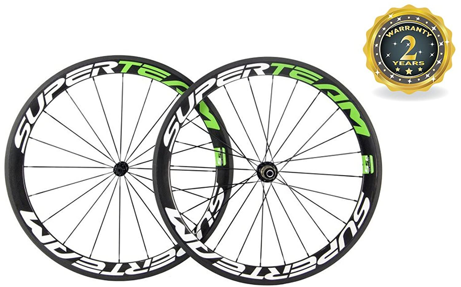 Superteam 700C Wheelset Clincher 50mm Glossy Carbon Road Cycle Sports Bicycle Rim