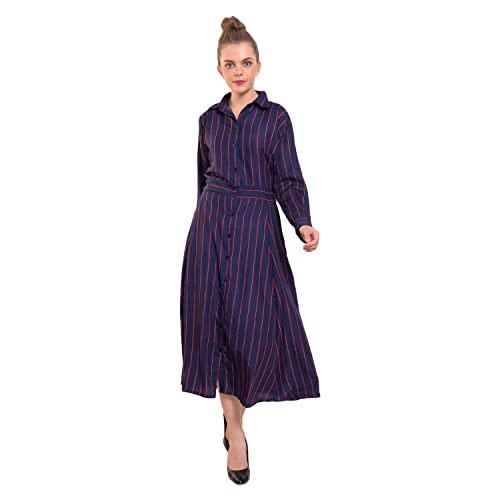 0f09ef8dac90 DIMPY GARMENTS BuyNewTrend Multicolor Imported Crepe Striped Long-Maxi Dress  for Women
