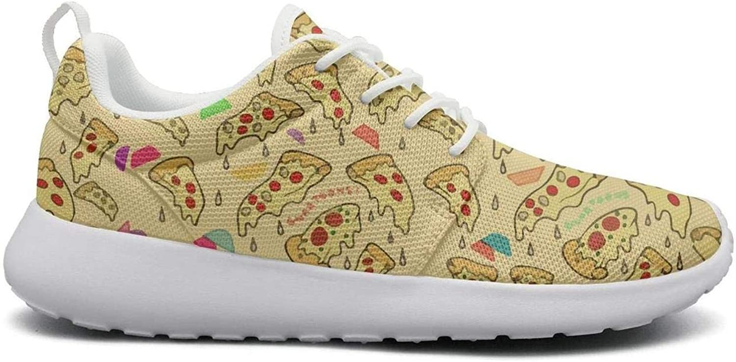 FEWW11 Women Funny Lightweight shoes Sneakers Pizza Triangle gold Party Cozy Gym Lace-Up
