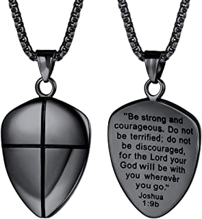 Shield of Faith Pendant Necklace Stainless Steel/Gold Plated Joshua 1:9 Cross Amulet Necklace with 22 Inches Chain, Best Gift for Father Customize Available (Send Gift Box)