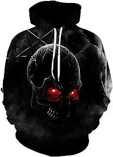 Red Eye Skull Men's 3D Hoodie Sweatshirt Casual Long Sleeve Pullover Street Dress Fall Hip Hop Harajuku