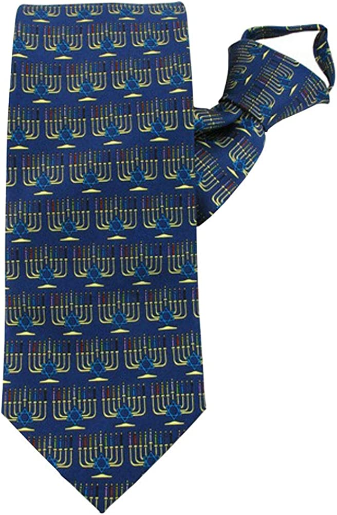 Jacob Alexander Men's Menorah Candle Lights Happy Hanukkah Star of David Zipper Neck Tie