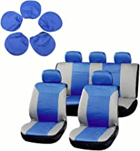 cciyu Seat Cover Universal Car Seat Cushion w/Headrest - 100% Breathable Washable Automotive Seat Covers Replacement Replacement fit for Most Cars(Blue on Gray)